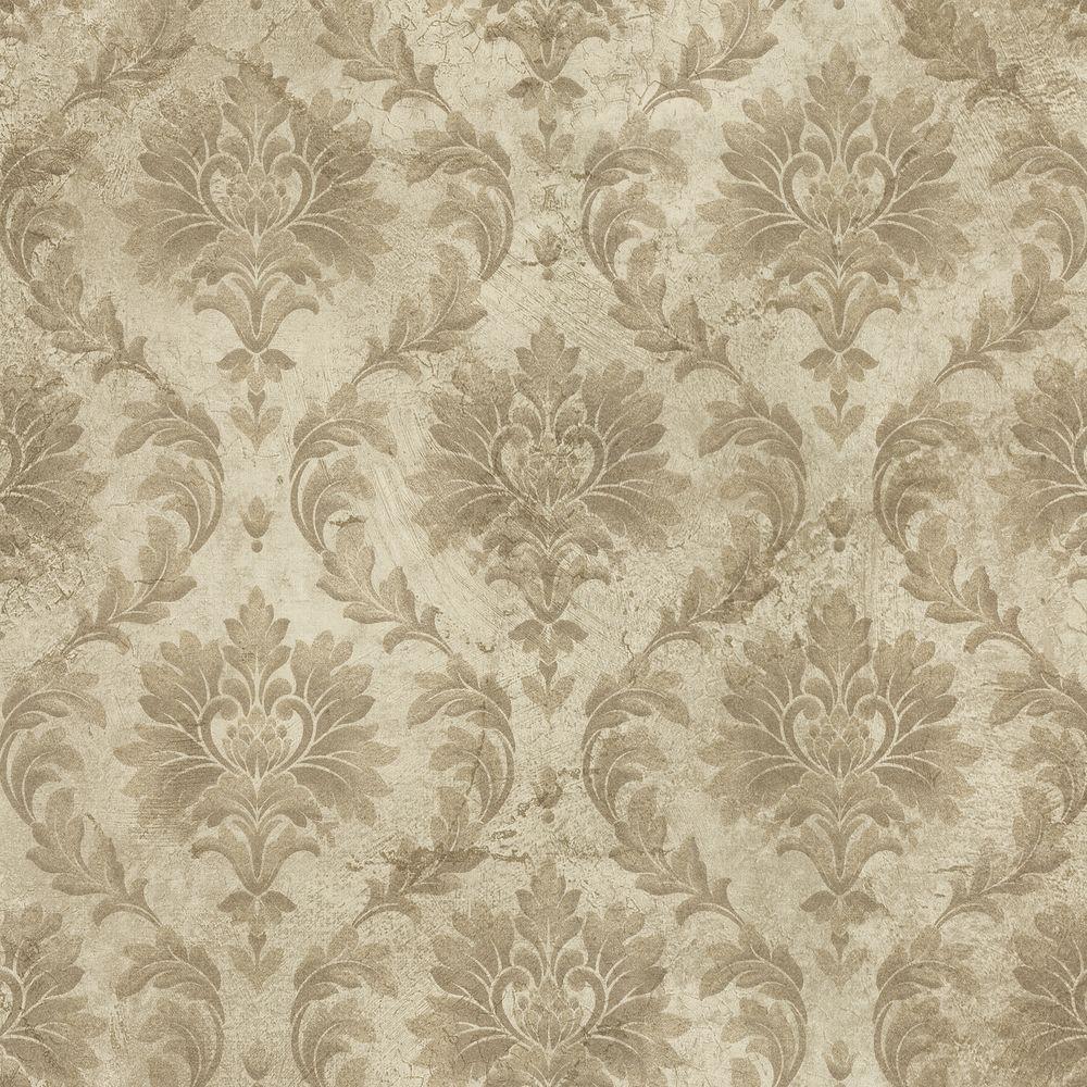 Brewster 8 in. W x 10 in. H Damask Wallpaper Sample