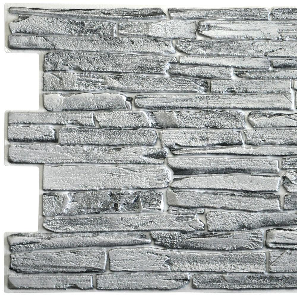 3D Falkirk Retro 10/1000 in. x 39 in. x 20 in. Grey Faux Slate PVC Wall Panel