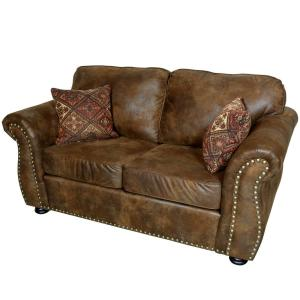Elk River Brown Transitional Leather Look With Nailhead Loveseat