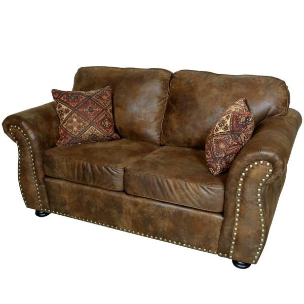 Elk River Brown Transitional Leather-Look with Nailhead Loveseat 01 ...