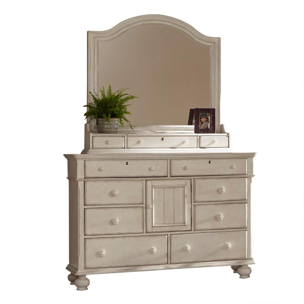 American Woodcrafters Drawer Antique White Dresser Storage Mirror