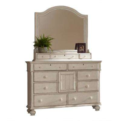 Newport 8-Drawer Antique White Dresser with Storage Mirror