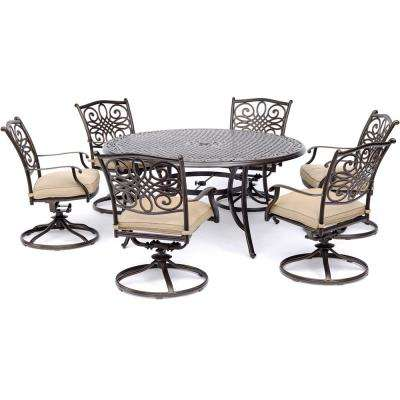 Traditions 7-Piece Aluminum Outdoor Dining Set with 6 Swivel Rockers with Tan Cushions and  sc 1 st  The Home Depot & 6 Person - Hanover - Round - Patio Dining Sets - Patio Dining ...