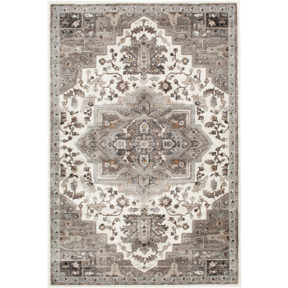 Bazaar Tanzium White/Grey 8 ft. x 10 ft. Oriental Polypropylene Area Rug