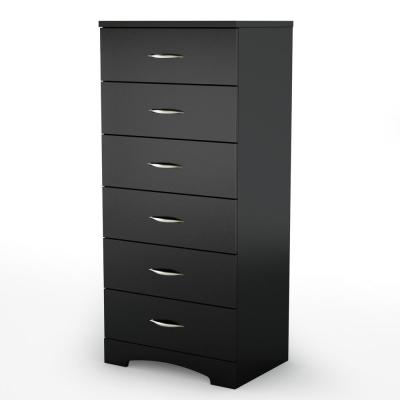 Step One 6-Drawer Pure Black Chest of Drawers