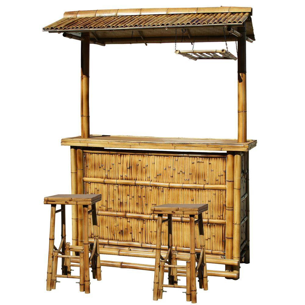 AmeriHome Bamboo Tiki Patio Bar Set-DISCONTINUED