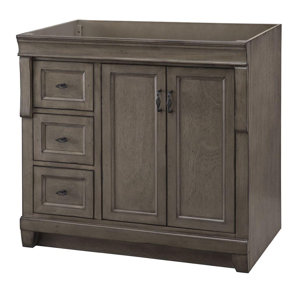 Swell Home Decorators Collection Naples 36 In W Bath Vanity Cabinet Only In Distressed Grey With Left Hand Drawers Download Free Architecture Designs Boapuretrmadebymaigaardcom