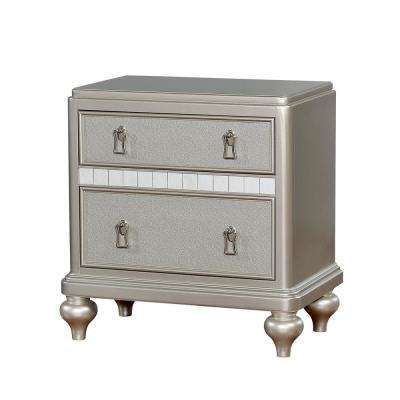 Janet 2-Drawer Silver Nightstand