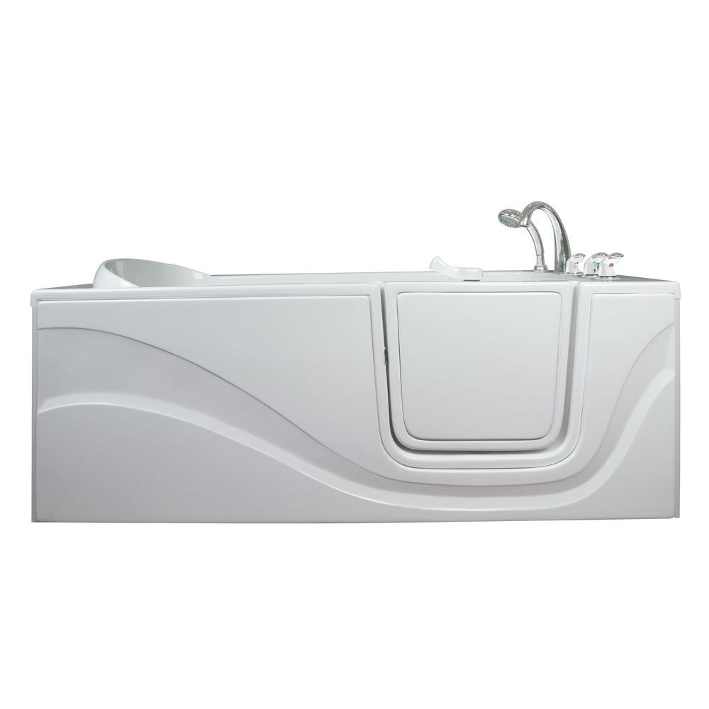 Ella Lay Down 5 ft. x 30 in. Walk-In Soaking Bathtub in White with ...
