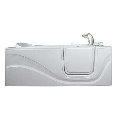 Lay Down 5 ft. x 30 in. Walk-In Air Massage Bathtub in White with Right Drain/Door
