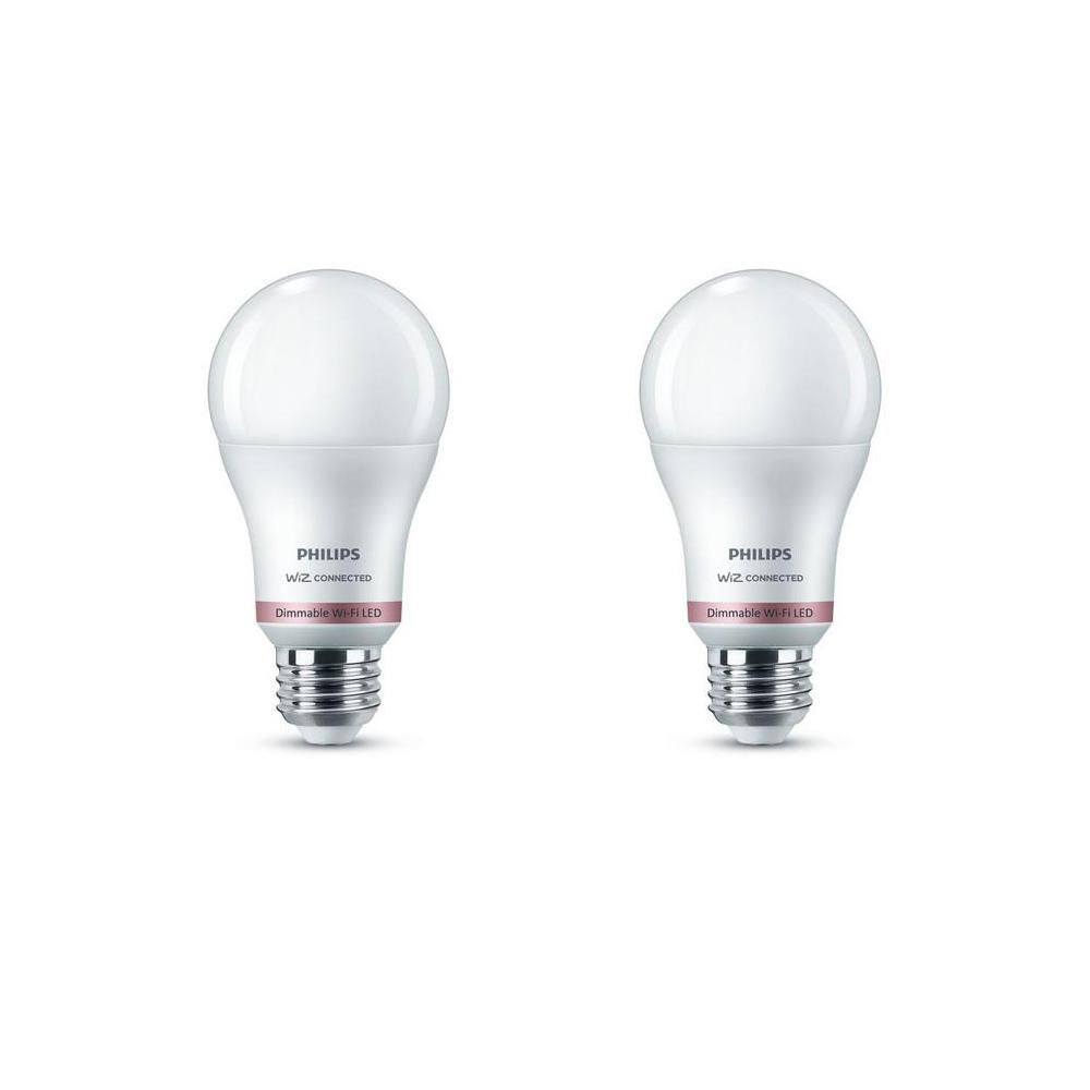 Philips Soft White A19 LED 60-Watt Equivalent Dimmable Smart Wi-Fi Wiz Connected Wireless Light Bulb (2-Pack)