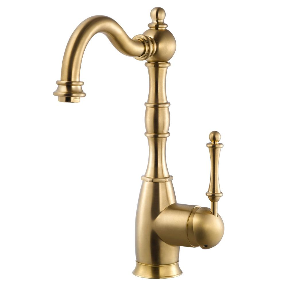 HOUZER Regal Traditional Single-Handle Standard Kitchen Faucet with CeraDox  Technology in Brushed Brass