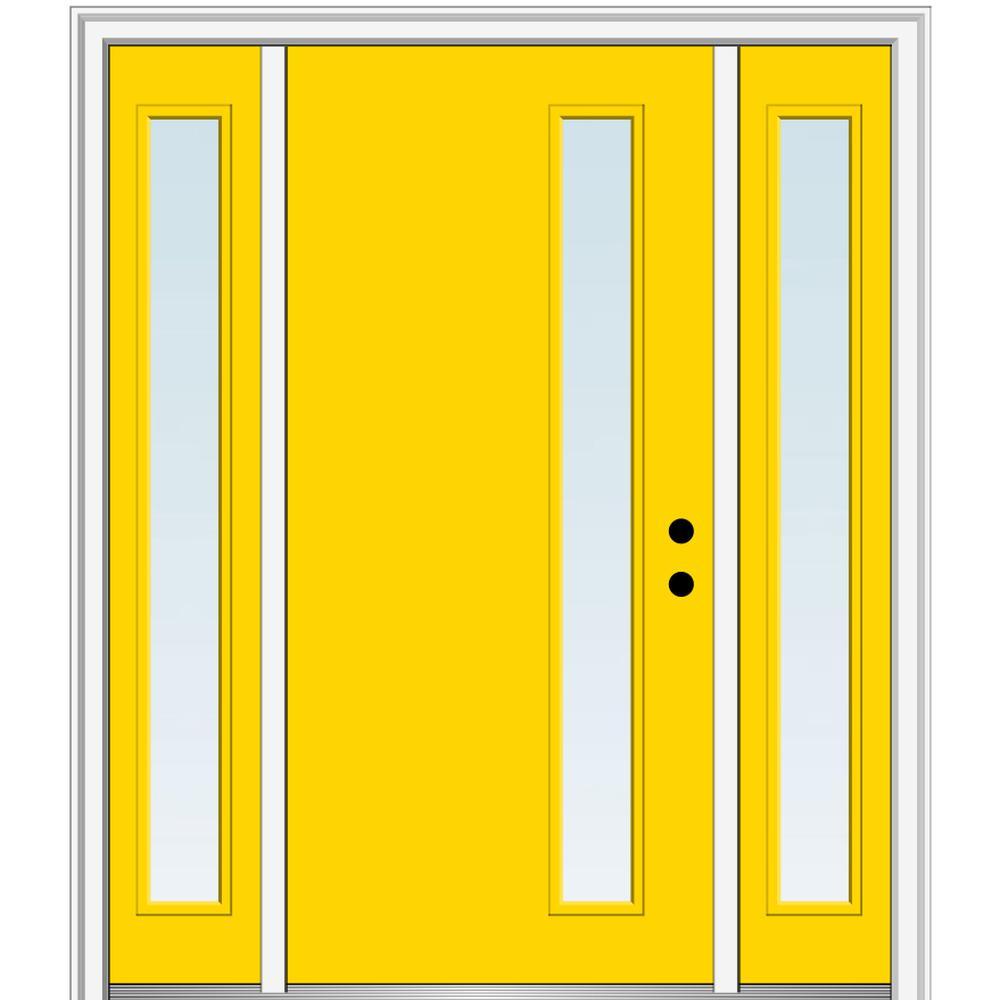 Mmi Door 68 5 In X 81 75 In Viola Left Hand Inswing 1 Lite Clear Low E Painted Fiberglass Prehung Front Door With Sidelites Z0348439l The Home Depot