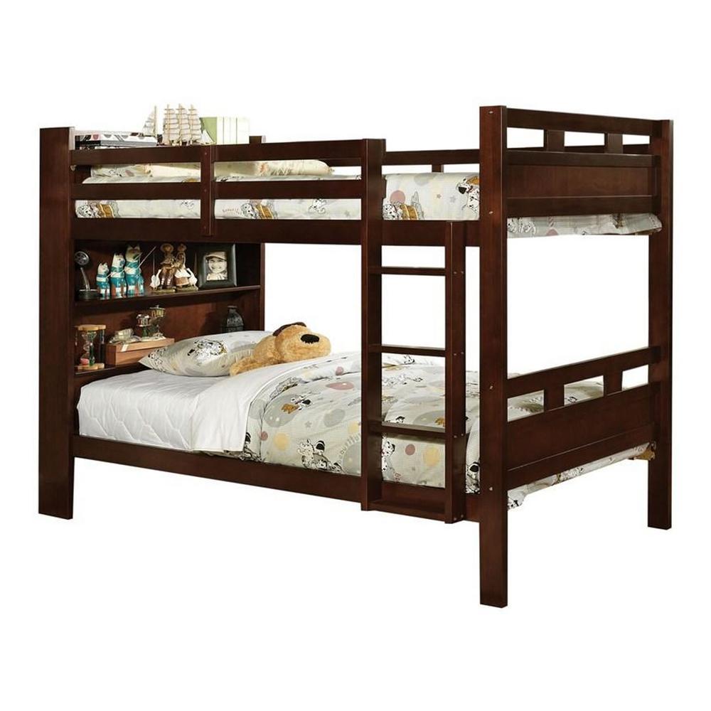 Fairfield Twin Bunk Bed with Book Shelf in Dark Walnut