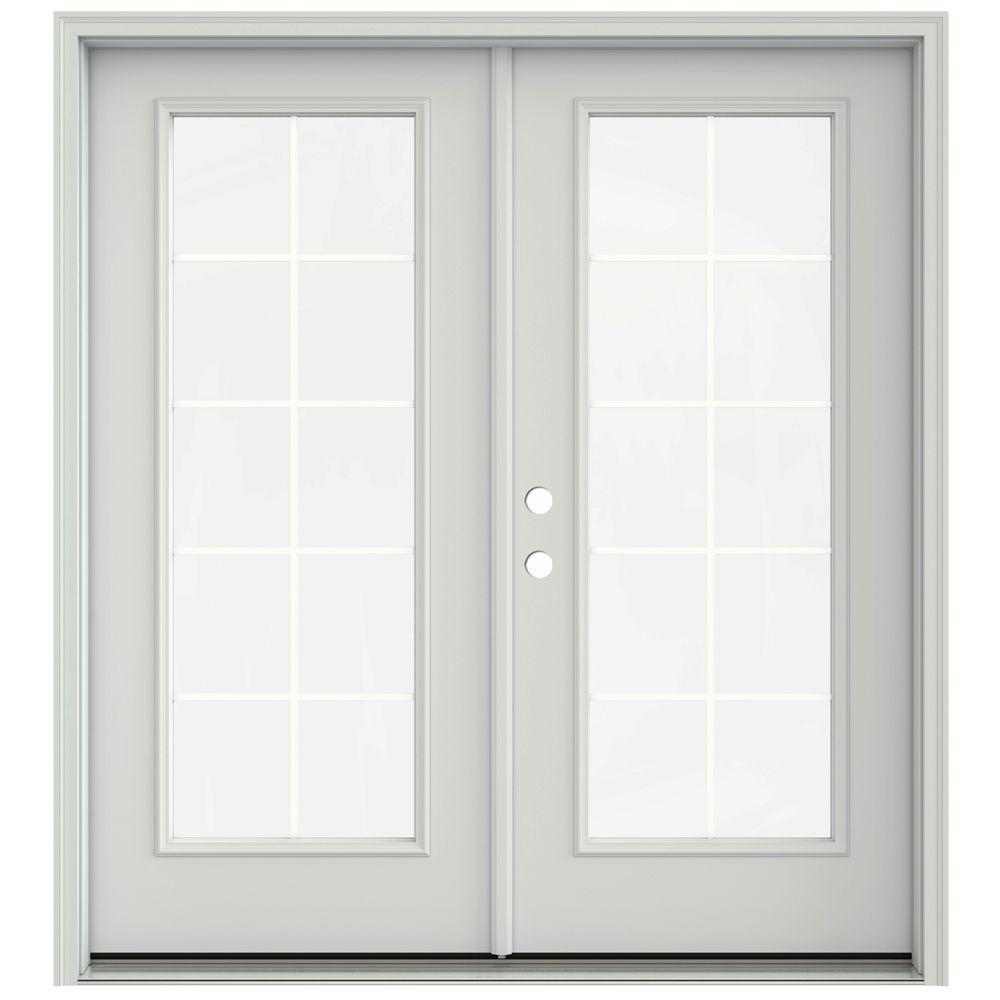 Jeld Wen 72 In X 80 In Primed Steel Right Hand Inswing 10 Lite Glass Stationary Active Patio