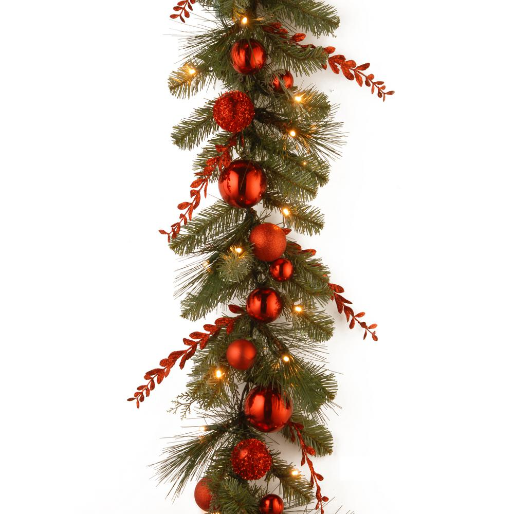 Decorative Collection 9 ft. Christmas Red Mixed Garland with Battery Operated