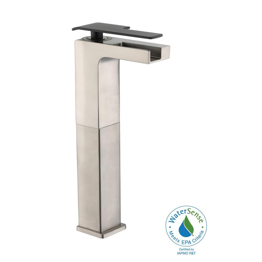 Femke Single-Handle Vessel Bathroom Faucet in Brushed Nickel and Matte Black