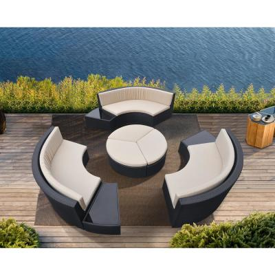 Barbados 9-Piece Wicker Outdoor Dining Set with Beige Cushions