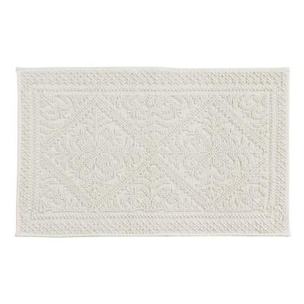 Jaquard Bath Rug White 20 in. x 60 in. Cotton Bath Rug