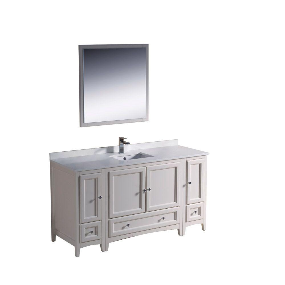 Fresca Oxford 60 In. Vanity In Antique White With Ceramic Vanity Top In  White With