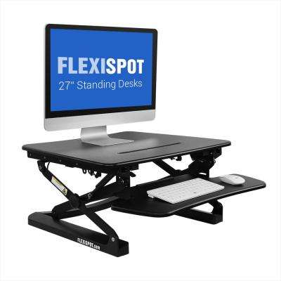 Height Adjustable Stand-Up Desk 26 in. W Platform Standing Desk Riser Removable Keyboard Tray, Black