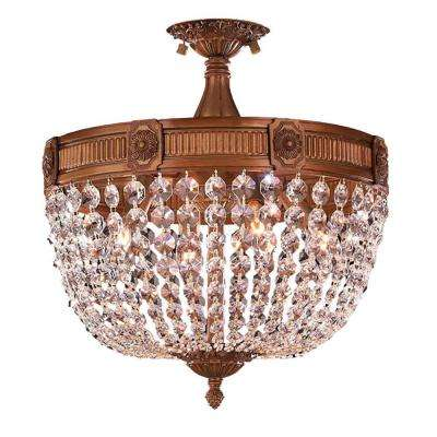 Winchester Collection 4-Light French Gold and Clear Crystal Semi-Flush Mount Light