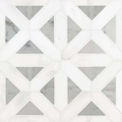Bianco Dolomite Geometrica 12 in. x 12 in. x 10 mm Polished Marble Mesh-Mounted Mosaic Tile (10 sq. ft. / case)