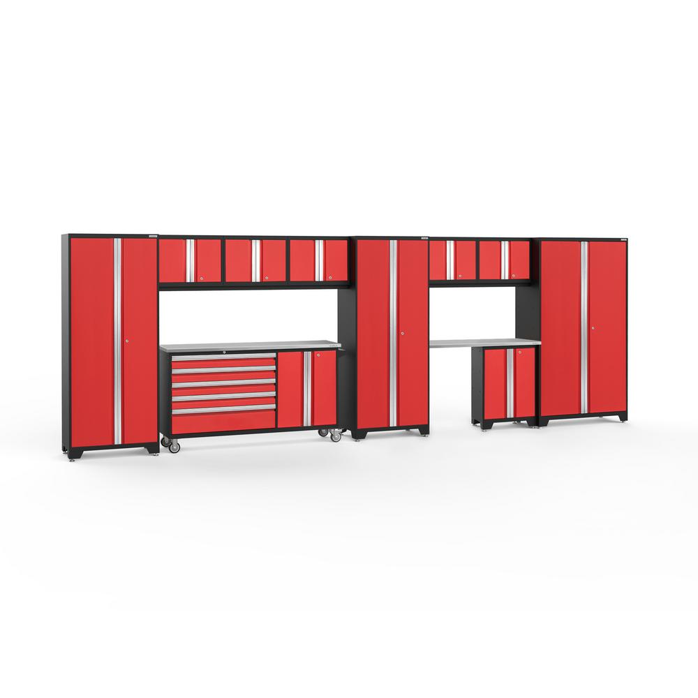 NewAge Products Bold Series 3.0 222 in. W x 77.25 in. H x 18 in. D 24-Gauge Welded Steel Garage Cabinet Set in Red (11-Piece)