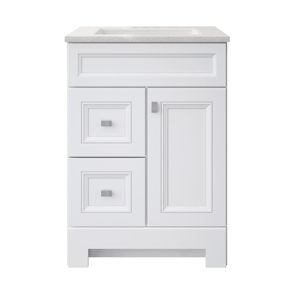 Home Decorators Collection Sedgewood 24-1/2 in. W Bath Vanity in White with Solid Surface Technology Vanity Top in Arctic with White Sink