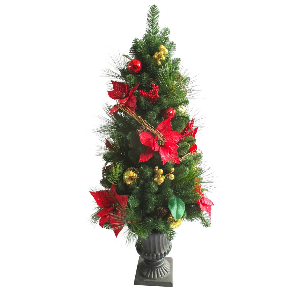 4 ft. Indoor/Outdoor Pre-Lit Artificial Porch Christmas Tree with Clear UL