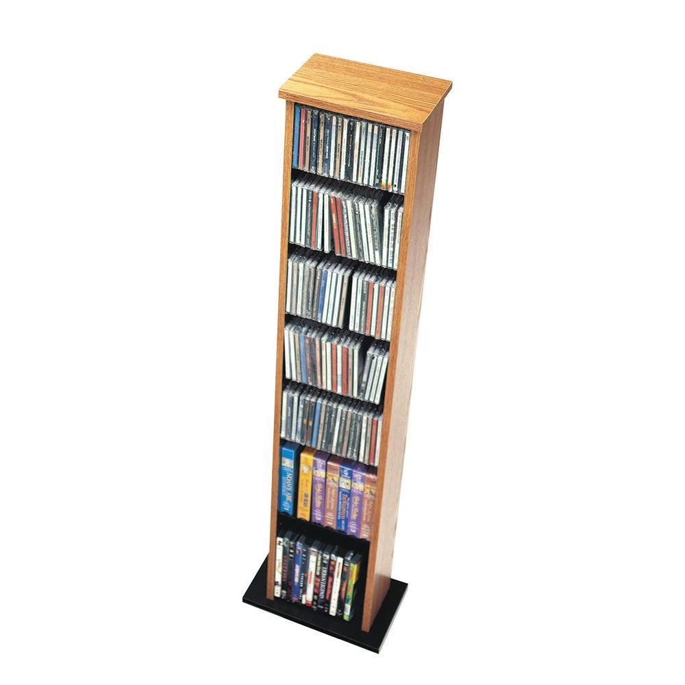 Prepac Slim Multimedia Storage Tower, Oak and Black