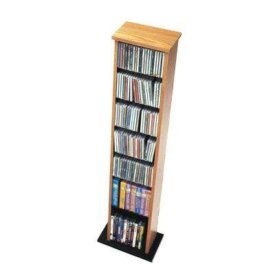 Slim Multimedia Storage Tower, Oak and Black
