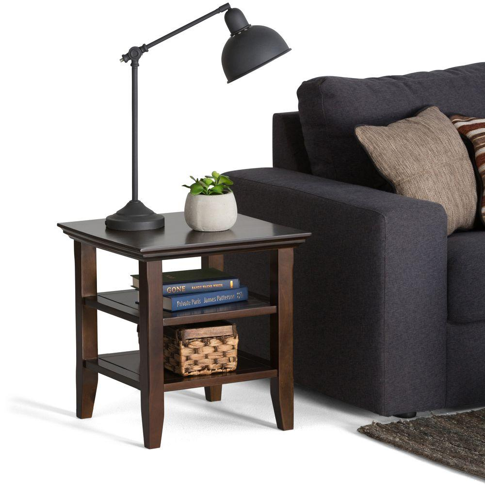 Storage End Tables For Living Room. Simpli Home Acadian Tobacco Brown Storage End Table AXWELL3 003