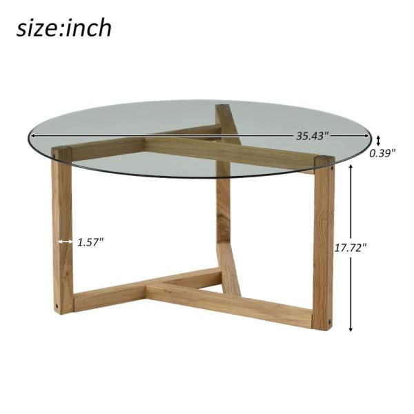 Boyel Living 36 In Clear Oak Medium Round Glass Coffee Table With Tempered Glass Top Tr Wf190112aal The Home Depot