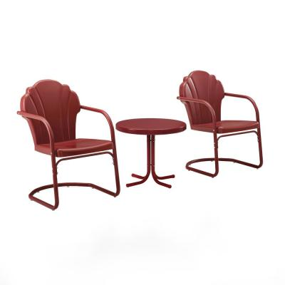 Tulip Red 3-Piece Metal Patio Conversation Set