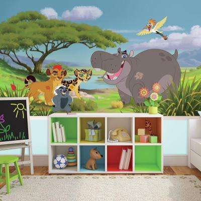 72 in. W x 126 in. H Lion Guard XL Chair Rail 7-Panel Prepasted Wall Mural