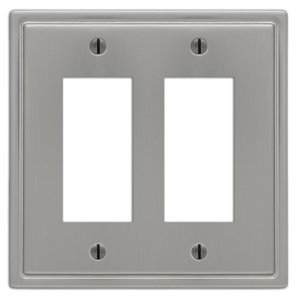 Moderne 2 Gang Rocker Steel Wall Plate - Brushed Nickel