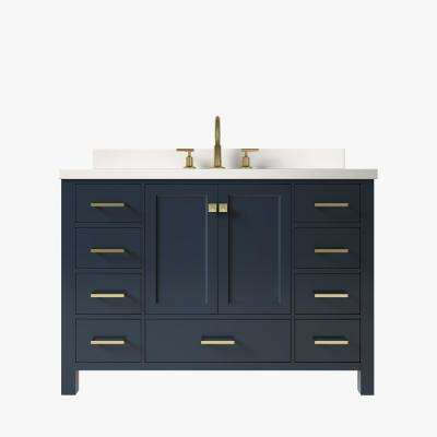 Cambridge 49 in. W x 22 in. D x 35 in. H Bath Vanity in Midnight Blue with Quartz Vanity Top in White with White Basin