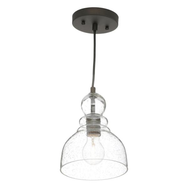 Brushed Nickel Finish-2 Pack Shade Oil-Rubbed Bronze Westinghouse 6100800 Industrial One-Light Adjustable Mini Pendant with Handblown Clear Seeded Glass
