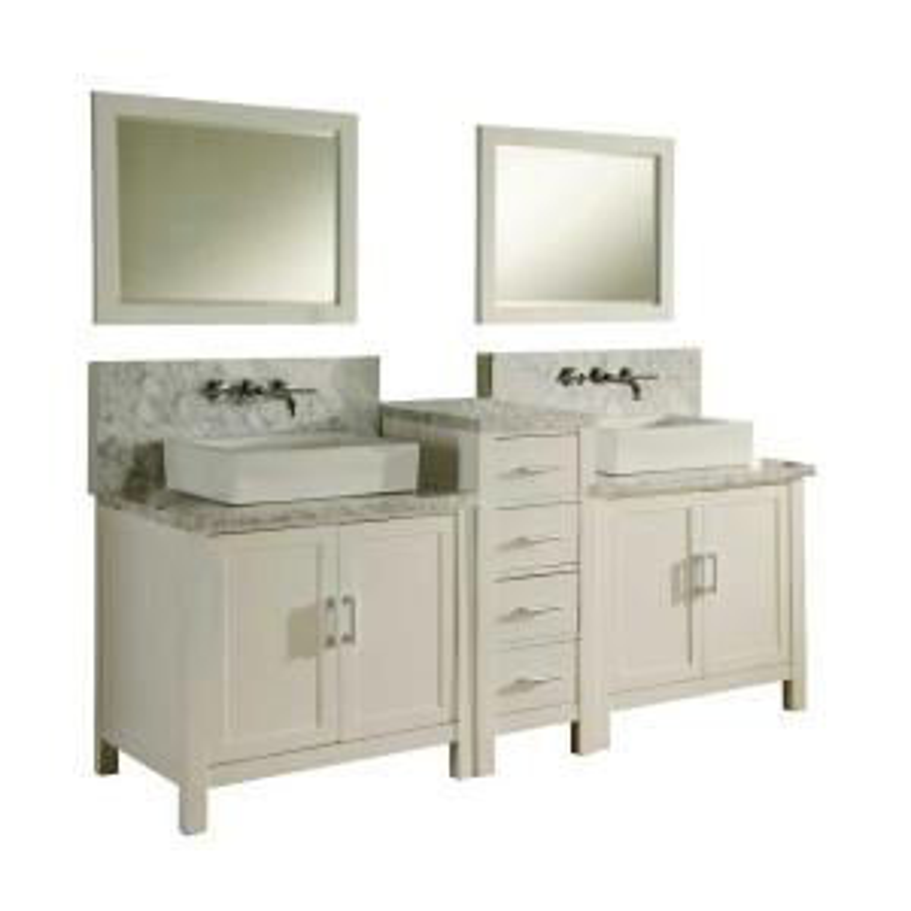 Direct vanity sink Horizon Premium 84 inch Double Vanity in Pearl White with Marble Vanity Top in Carrara White and... by Direct vanity sink