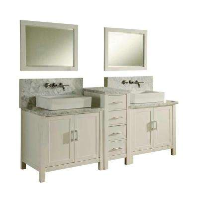 Horizon Premium 84 in. Double Vanity in Pearl White with Marble Vanity Top in Carrara White and Mirrors