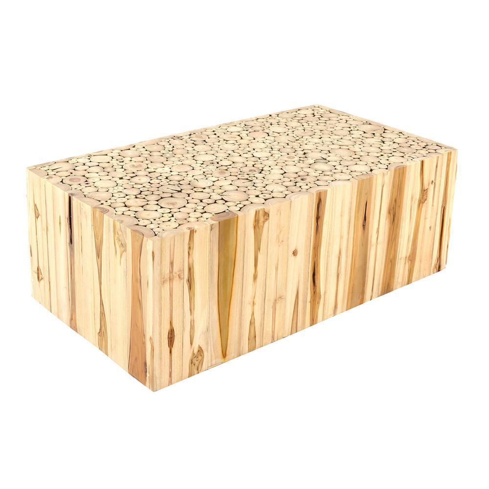 Rowan 43 in. Brown Large Rectangle Wood Coffee Table