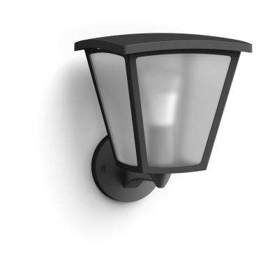 Hue White Inara Black Outdoor LED Wall Mount Sconce with Smart Wireless A19 Light Bulb
