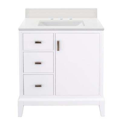 Shaelyn 31 in. W x 22 in. D Bath Vanity in White LH with Engineered Marble Vanity Top in Winter White with White Sink