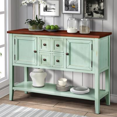 Charlotte 46 in. Blue Standard Rectangle Wood Console Table with 4-Storage Drawers