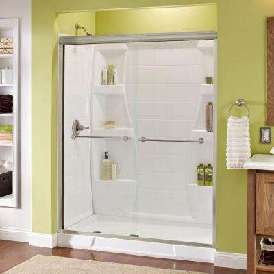 Panache 60 in. x 70 in. Semi-Frameless Sliding Shower Door in Brushed Nickel with Clear Glass