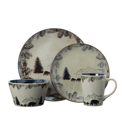 Backcounty Bear 16-Piece Brown Dinnerware Set (Service for 4)