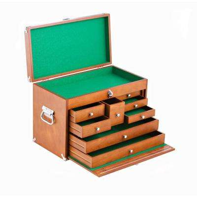 21 in. 8-Compartments Drawer Small Part Organizer Wood Tool Box in Brown