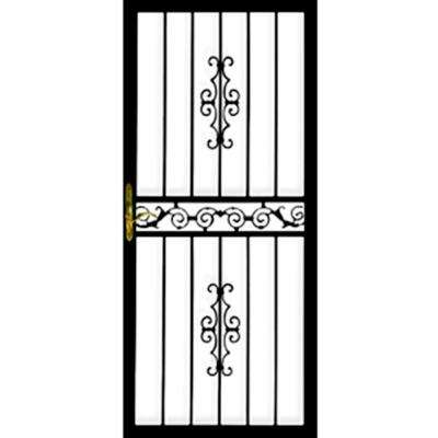 36 in. x 80 in. 101 Series Black Right-Hinge Gibraltar Security Door with Self-Storing Glass Feature