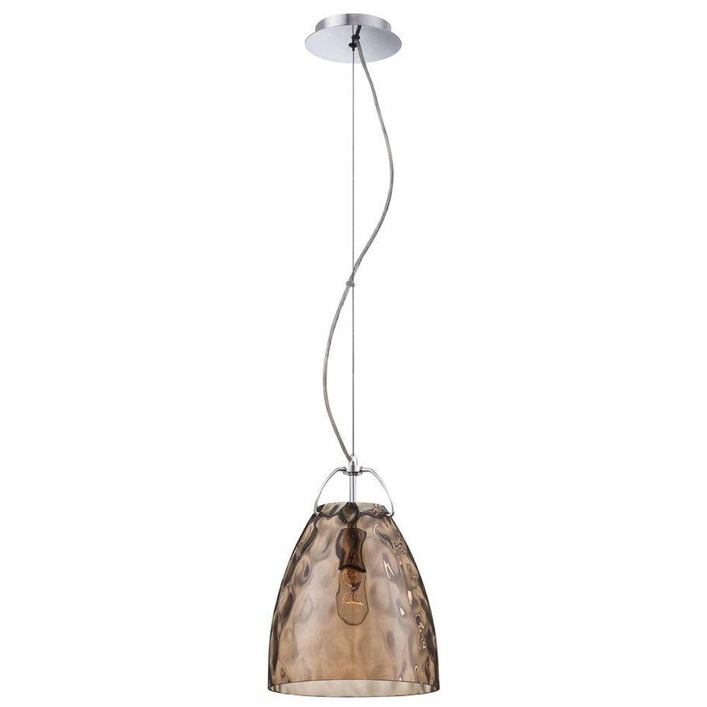 Eurofase Amero Collection 1-Light Chrome and Amber Large Pendant